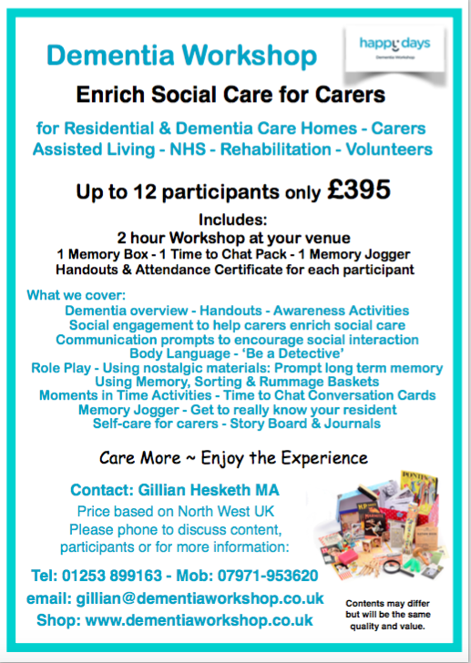 Happy Days Dementia Workshop - Workshop flyer