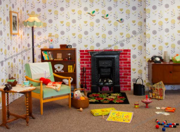 1950s living room scene in wallpaper 32152 in stock