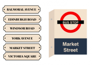 Signage - Rooms - Directional - Street Signs - Bus Stops
